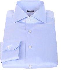 barba napoli barba light blue cotton shirt