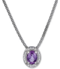 """amethyst (1-1/5 ct. t.w.) & white topaz (1/4 ct. t.w.) oval halo pendant necklace, 17"""" + 1"""" extender (also in sky blue topaz)"""