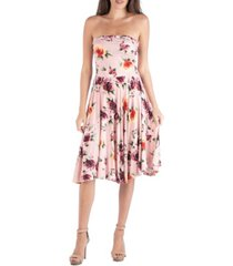 24seven comfort apparel floral strapless midi dress with a circle skirt