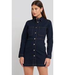 na-kd trend denim shirt mini dress - blue