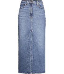 ultra long split ski knälång kjol blå lee jeans