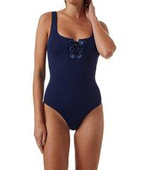 women's melissa odabash tulum one-piece swimsuit, size 12 - blue