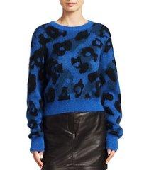 leopard print boxy knit sweater