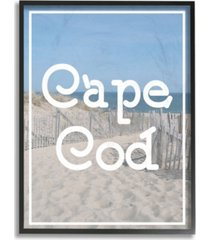 "stupell industries cape cod beach typography vintage-inspired framed giclee art, 16"" x 20"""