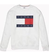 tommy hilfiger men's adaptive logo flag sweatshirt bright white - xxl