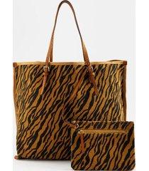 presley animal print tote - tiger