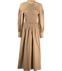 ganni shirred cotton midi dress - neutrals