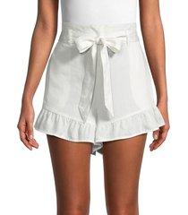 saks fifth avenue women's belted ruffle-hem shorts - white - size m