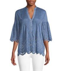 jade women's button-front cotton & silk blend top - ultramarine - size m