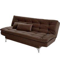 sofá cama 3 lugares pratic império estofados marrom