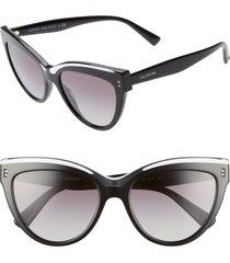 valentino rockstud 54mm cat eye sunglasses in black crystal at nordstrom