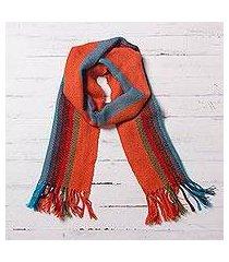 100% alpaca scarf, 'sky flame' (peru)