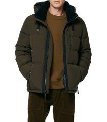 men's marc new york hubble fleece collar water resistant puffer coat, size small - green