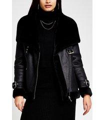 river island womens black shearling faux leather aviator coat