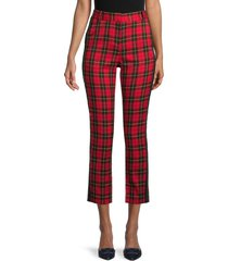 maje women's plaid straight leg pants - red - size 36 (4)
