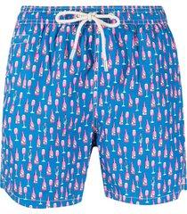 mc2 saint barth micro fantasy print swim shorts - blue