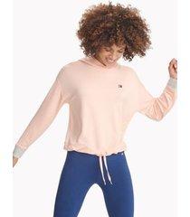 tommy hilfiger women's essential cinched hem hoodie blush - l