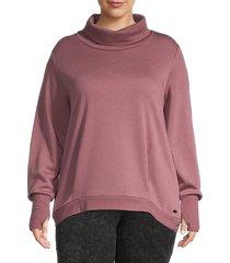 marc new york performance women's plus funnelneck sweatshirt - dried rose - size 2x (18-20)