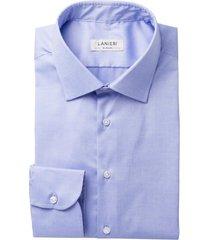 camicia da uomo su misura, canclini, easy iron blu polvere, quattro stagioni | lanieri