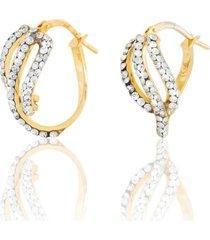 orecchini a cerchio in oro giallo e strass per donna