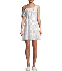 bailey 44 women's cali dream dotted off-shoulder ruffle dress - white - size 10