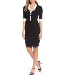women's anne klein shawl collar knit sheath dress, size x-large - black