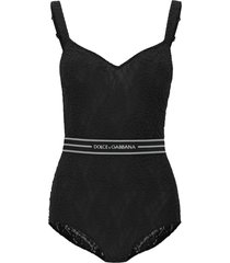 dolce & gabbana lace bodysuit with logo band