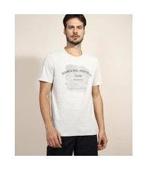 "camiseta masculina marea del portillo"" manga curta gola careca cinza mescla claro"""