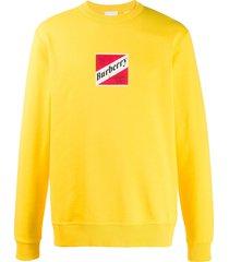 burberry logo graphic cotton sweatshirt - yellow