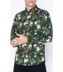 premium by jack & jones jprhank flower shirt l/s plain skjortor mörk grön