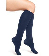 women's nordstrom compression trouser socks, size x-large - blue