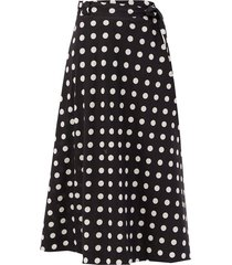 bellitude polka-dot linen-blend midi skirt