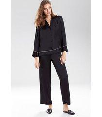 key essentials notch collar sleepwear pajamas & loungewear set, women's, 100% silk, size xs, josie natori
