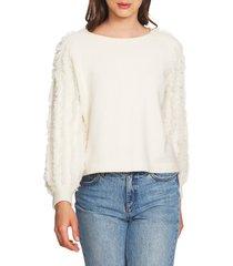 women's 1.state fringe sleeve sweater, size large - white