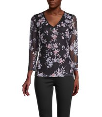 calvin klein women's floral-print v-neck top - black - size s