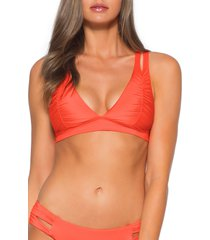 women's soluna clear skies halter bikini top, size large - orange