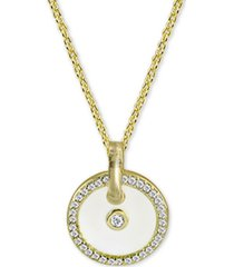 "argento vivo cubic zirconia & white enamel circle 18"" pendant necklace in 18k gold-plated sterling silver"