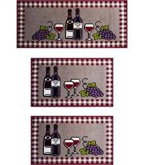 kit tapetes para cozinha, j serrano, vinho, vermelho, 3 peças