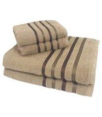 jogo de toalha 4 peças kit de toalhas 2 banho 2 rosto jogo de banho bege