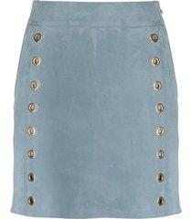 alberta ferretti eyelet-detail leather skirt - blue