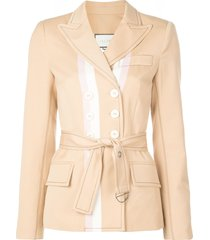 alexis belted fitted jacket - brown