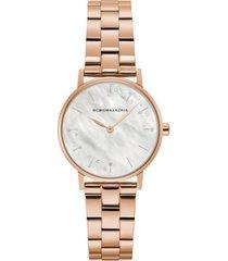 bcbgmaxazria ladies round rose goldtone stainless steel bracelet watch, 32mm