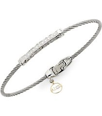 stainless steel, diamond & 18k gold charm bracelet