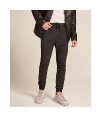 calça de sarja masculina jogger skinny estampada preta