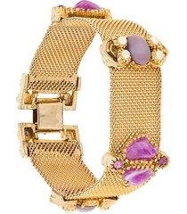 rewind vintage affairs 1960's embellished stone bracelet - metallic