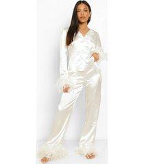 petite pyjama set met broek en veren zoom, ivory