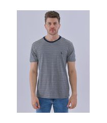 camiseta listrado linho azul