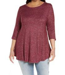 plus size women's bobeau brushed knit babydoll top, size 1x - burgundy