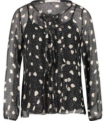 blouse met luipaardprint chelly  zwart