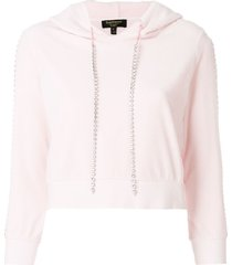 juicy couture exclusive swarovkski embellished velour hoodie - pink
